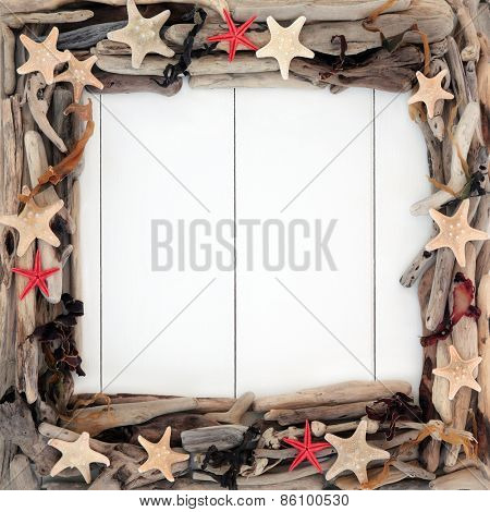 Starfish sea shells, driftwood and seaweed frame forming an abstract border over wooden white background.