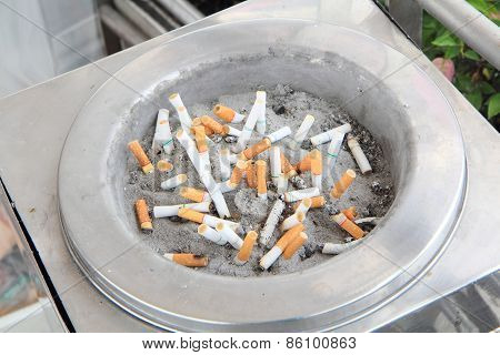 cigarette butt in the ashtray
