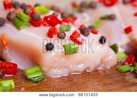 Fresh Chicken Meat On Wooden Board