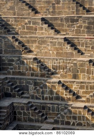 Jaipur, India - December 30, 2014: Steps At Chand Baori Stepwell In Jaipur