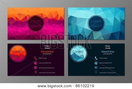 Polygonal business cards set