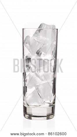 Glass with ice cubes.