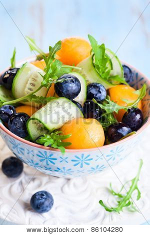 Melon,cucumber and blueberry salad