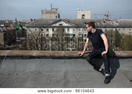 Man Posing In Selvedge  Jeans