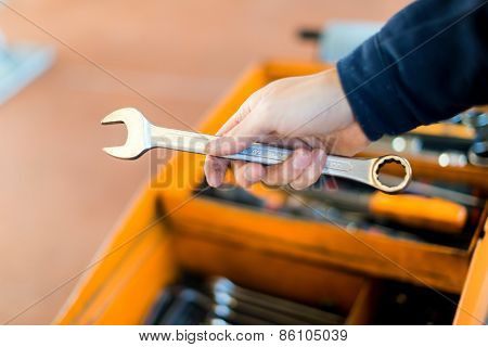 Mechanic hand holding a wrench