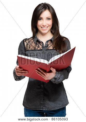 Smiling student holding a book