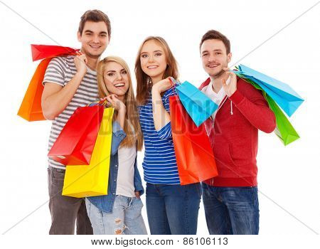 Group of young people shopping, isolated on white background