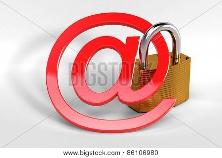 Red at sign secured by a strong metal lock symbolizing a secure web communication