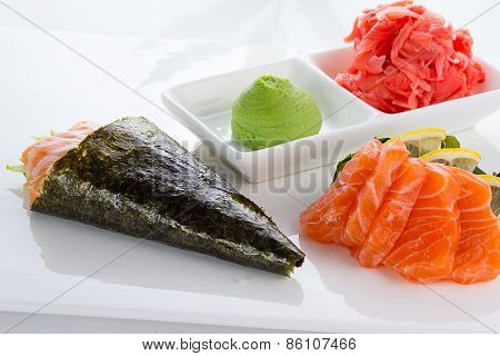 Japanese cuisine. Temaki and sashimi.