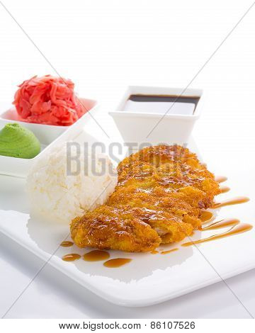 Grilled Chicken Teriyaki With Steamed Rice On White Plate Isolated