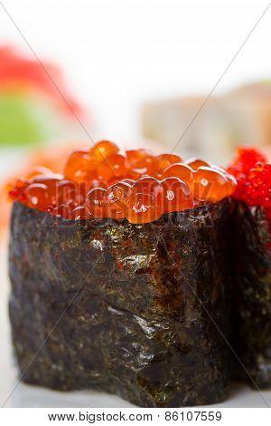 Sushi Gunkan Over White Background