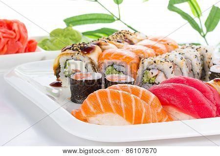 Sushi Set On White Plate Over White Background