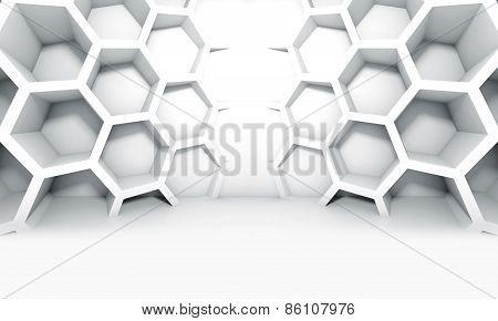Abstract White Symmetric Interior With Honeycomb