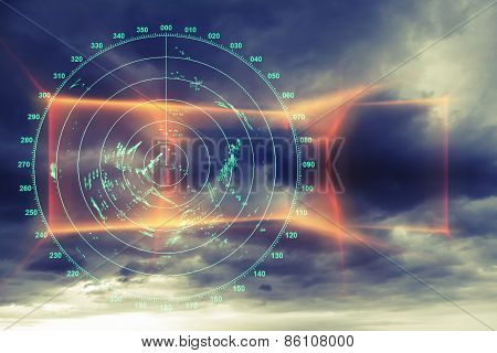 Modern Radar Digital Screen Above Dark Sky