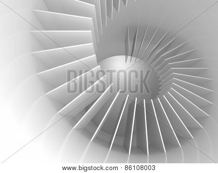 Abstract White Spiral Structure Perspective