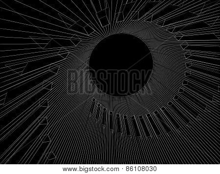 Abstract Digital 3D Illustration With White Wire-frame Spiral