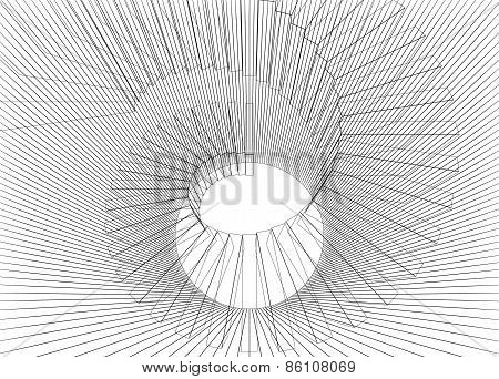Abstract Digital 3D Illustration With Black Wire-frame Helix