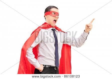 Angry superhero with mask and tie gesturing with his finger isolated on white background