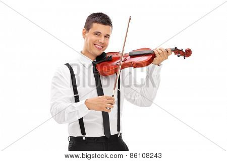 Young smiling elegant man playing a violin and looking at camera isolated on white background