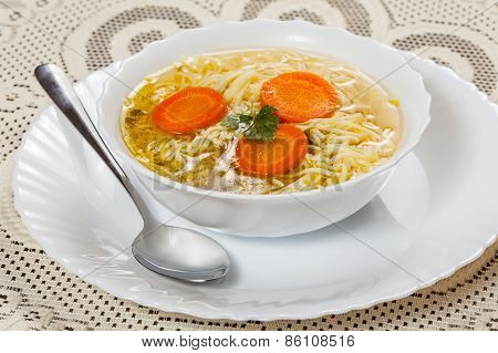 Broth - Chicken Soup With Noodles.