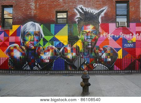 Mural art by Brazilian Mural Artist Eduardo Kobra recruits with Andy Warhol and Jean-Michel Basquiat