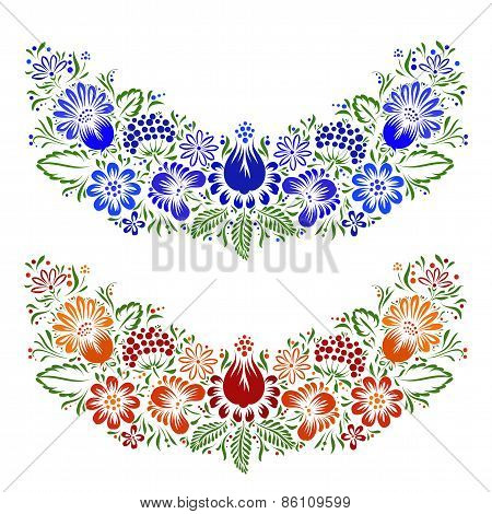 Vector ornament with ethnic flowers and leaves.