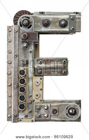Industrial metal alphabet letter E