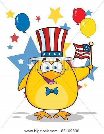 Patriotic Yellow Chick Cartoon Character Waving An American Flag On Independence Day