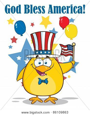 Happy Patriotic Yellow Chick Cartoon Character Waving An American Flag On Independence Day