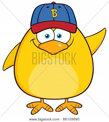 Smiling Yellow Chick Cartoon Character With Baseball Hat Waving