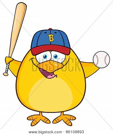 Baseball Yellow Chick Cartoon Character Swinging A Baseball Bat And Ball