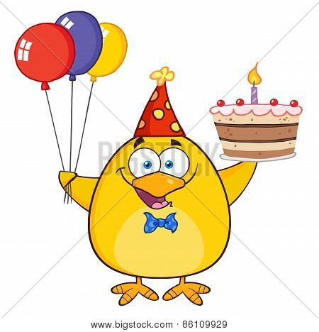 Yellow Chick Holding Up A Colorful Balloons And Birthday Cake