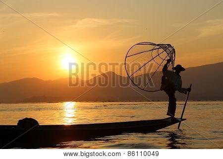 Traditional fisherman, Burma