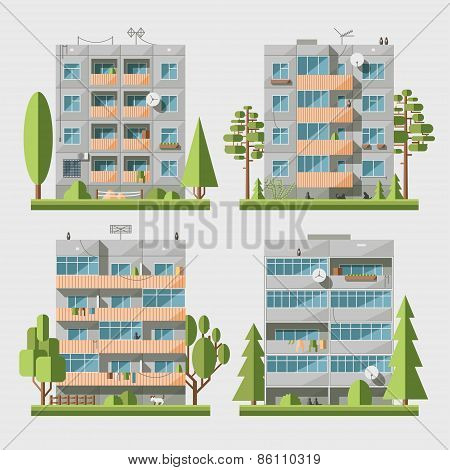 Panel houses flat set
