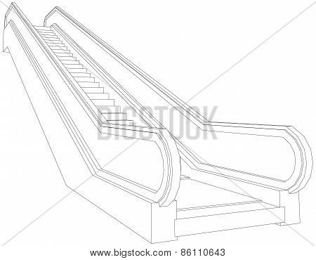 Drawing of wire-frame escalator. Perspective view. Vector illustration