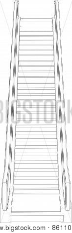 Sketch of escalator. Front view. Vector illustration
