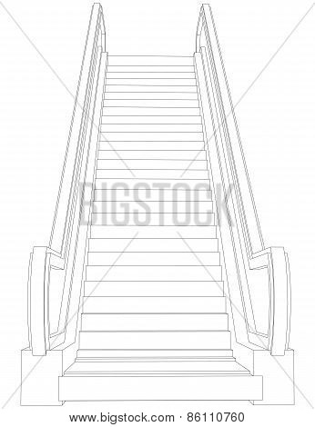 Wire-frame escalator. Front view. Vector illustration