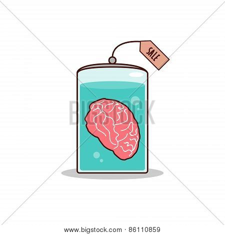 Isolated cartoon brain for sale promotion