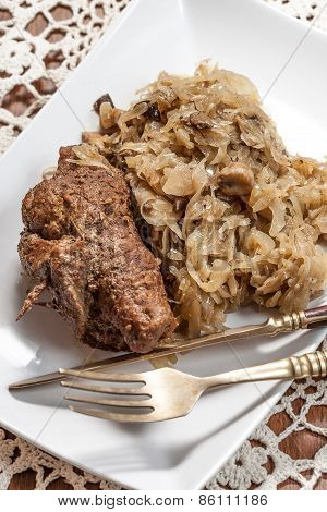 Beef Roulade With Cabbage.