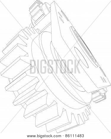 Wire-frame gears. Perspective view. Vector illustration