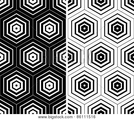 Hexagons patterns. Seamless geometric textures set. Vector art.