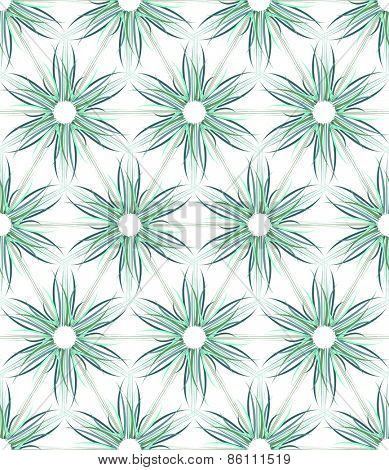 Seamless floral texture. Hexagons and triangles pattern. Vector art.