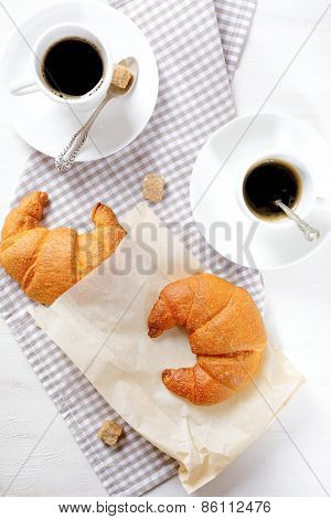 Croissants With Coffee For Breakfast