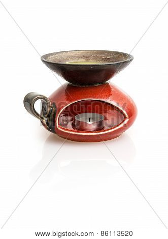 Stylish Red Ceramic Candlestick With Reflection