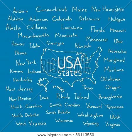 Handwritten Usa States Vector Illustration