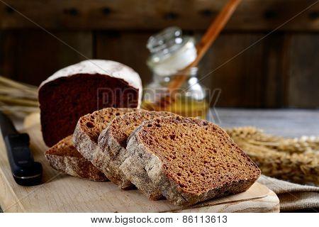 Fresh Chopped Rye Bread On A Cutting Board
