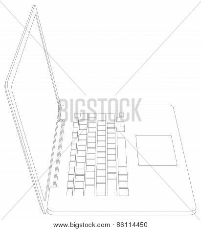 Wire-frame open laptop. Front view. Vector illustration