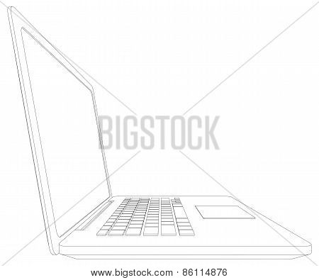 Sketch of wire-frame open laptop. Vector illustration