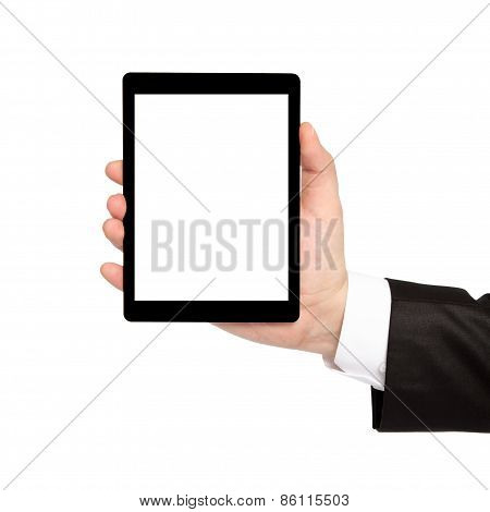 Isolated Businessman Hand Holding Tablet With Isolated Screen