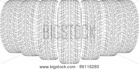 Seven wire-frame tires. Vector illustration